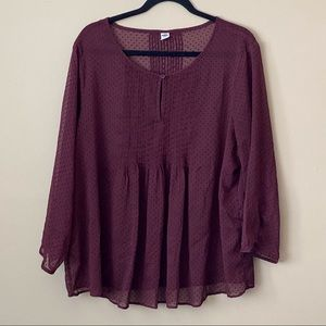 Old Navy burgundy sheer peasant blouse with dots